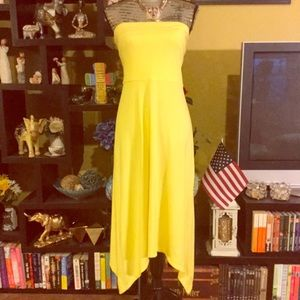 Yellow strapless Dress and skirt